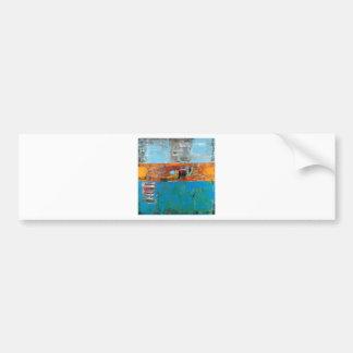 Alligator Blue Orange Abstract Art Painting Bright Bumper Sticker