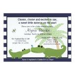 "Alligator Blue striped baby shower invitation AMP 5"" X 7"" Invitation Card"