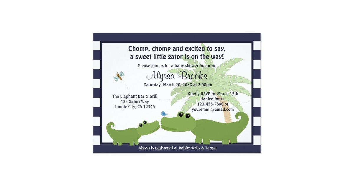 Alligator Blue striped baby shower invitation AMP | Zazzle.com