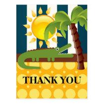 Alligator Blue Yellow Birthday Party Thank You Postcard