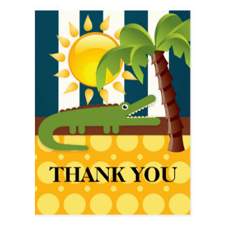 Alligator Blue Yellow Birthday Party Thank You Postcard