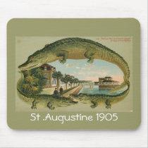 Alligator Border St Augustine Florida 1905, St ... Mouse Pad