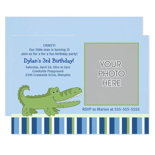 Alligator Boys Birthday Inviation Card