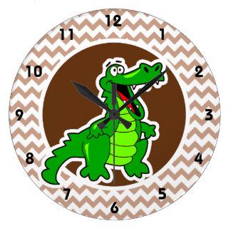 Alligator; Brown Chevron Wallclock