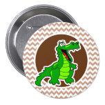 Alligator; Brown Chevron Pinback Button