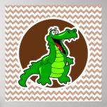 Alligator; Brown Chevron Poster