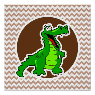 Alligator; Brown Chevron Poster