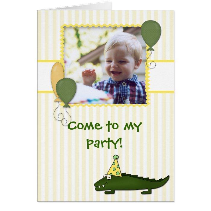 Alligator Child's Birthday Photo Invitation
