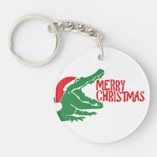 Alligator christmas keychain