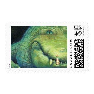 Alligator Christmas postage stamp