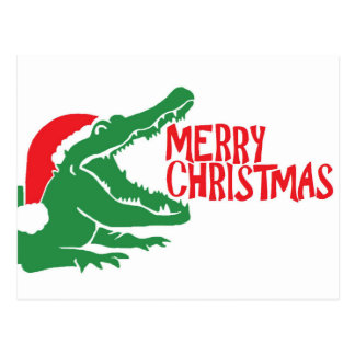 Alligator christmas postcard