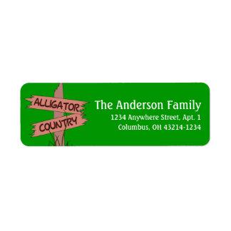 Alligator Country Sign Animal Return Address Label