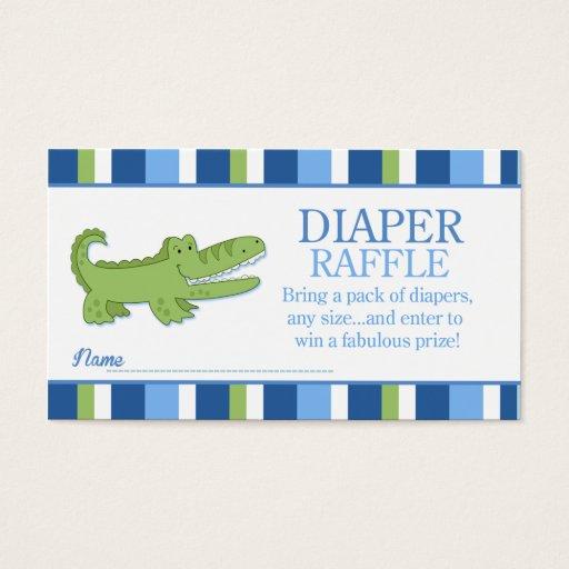 Alligator / Crocodile Baby Shower Diaper Raffle Business Card