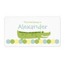 Alligator Crocodile Bookplate Label - Book Plate