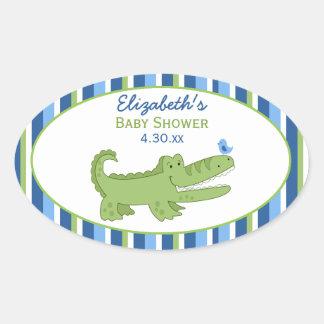 Alligator Custom Oval Favor Sticker - Green/Blue