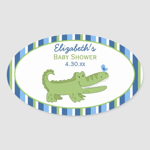 Alligator Custom Oval Favor Sticker - Green/Blue