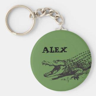 Alligator drawing with custom name keychain