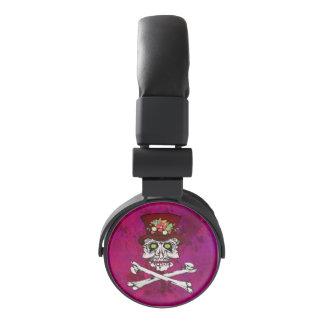 Alligator Eyed gothic skull and cross bones Headphones