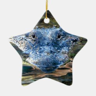 Alligator Eyes Ceramic Ornament
