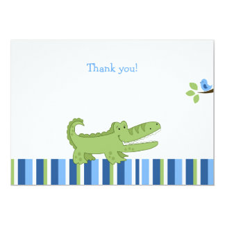 Alligator Flat Thank you note - Blue/Green Card