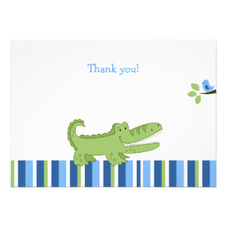 Alligator Flat Thank you note - Blue/Green Invitations
