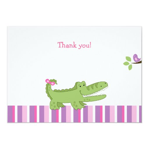 Alligator Flat Thank you note -Pink/Green Card