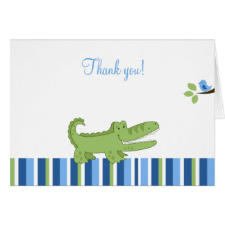 Alligator Folded Thank you notes - Blue/Green