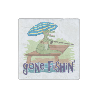 Alligator Gone Fishing Stone Magnet