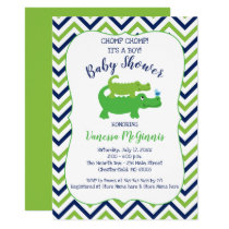Alligator Green Blue Boy Baby Shower Invitation