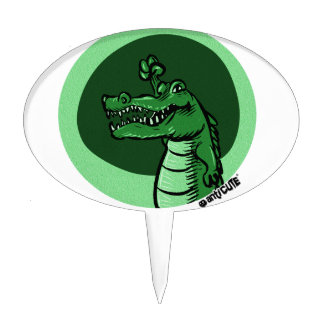 alligator green cake topper