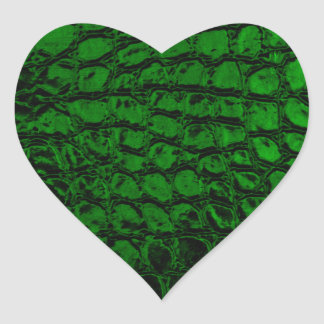 Alligator Green Faux Leather Heart Stickers