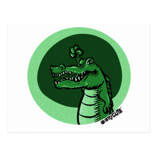 alligator green postcard