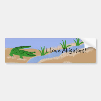 Alligator Green Whimsical Cartoon Art Car Bumper Sticker