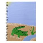 Alligator Green Whimsical Cartoon Art Spiral Notebook