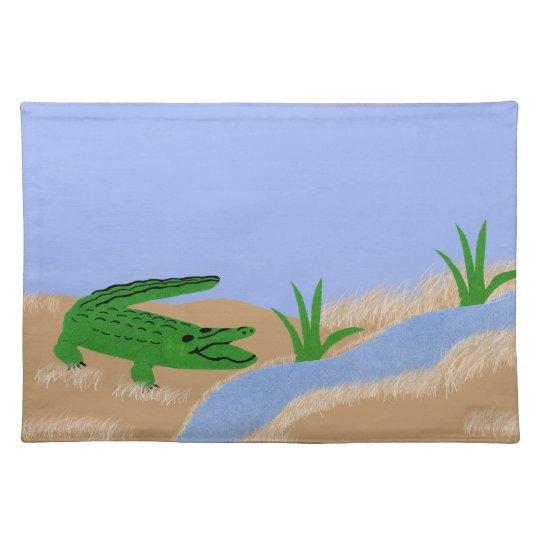 Alligator Green Whimsical Cartoon Art Placemat