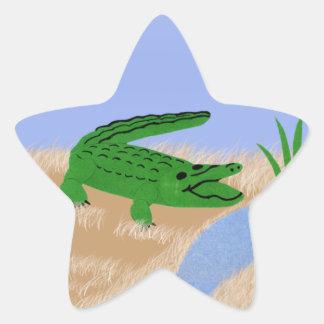 Alligator Green Whimsical Cartoon Art Star Sticker