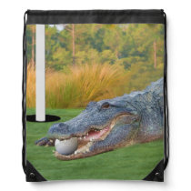 Alligator, Hazardous Lie on Golf Course Drawstring Backpack