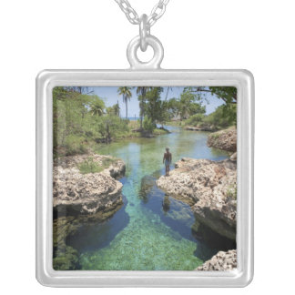 Alligator Hole, Black River Town, Jamaica Square Pendant Necklace