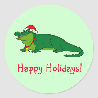 Alligator in a Santa Hat Classic Round Sticker