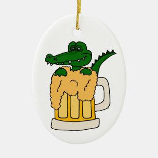 Alligator in Beer Mug Ceramic Ornament