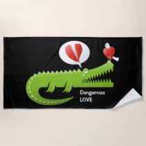Alligator in Love Beach Towel