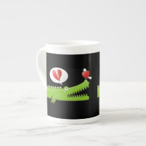 Alligator in Love Bone China Mug