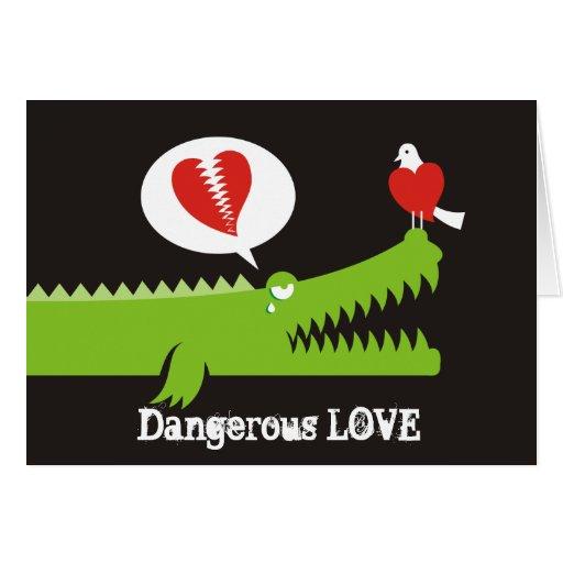 Alligator in Love Cards