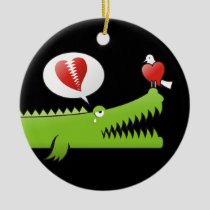 Alligator in Love Ceramic Ornament