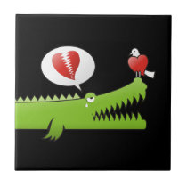 Alligator in Love Ceramic Tile