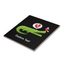 Alligator in Love Ceramic Tile