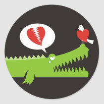 Alligator in Love Classic Round Sticker