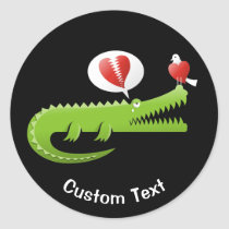 Alligator in Love Classic Round Sticker