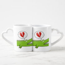 Alligator in Love Coffee Mug Set
