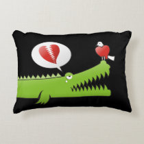 Alligator in Love Decorative Pillow